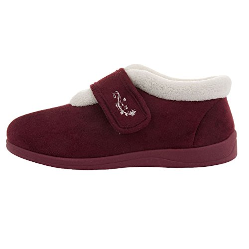 Dunlop Womens Deloris Wide Fit Fleece Lined Slipper Boots Burgundy wbe6WSaNl1