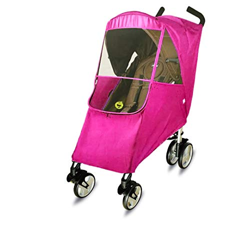 (Universal Stroller Weather Shield/Rain Cover, Waterproof, Windproof Protection, Travel-Friendly, Outdoor Use, Shimmering Textured Fabric. Pink)