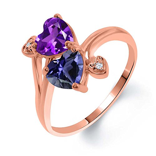 Gem Stone King 1.26 Ct Heart Shape Purple Amethyst Blue Iolite 18K Rose Gold Plated Silver Ring (Size 8) ()