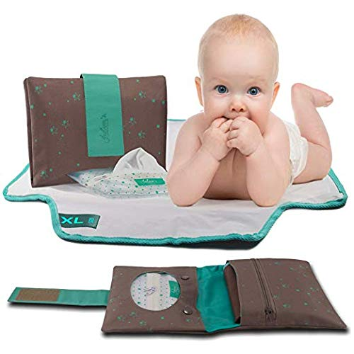 Extra Large Portable Changing Pad and Diaper Clutch, Travel Changing Station for Newborns and Toddlers