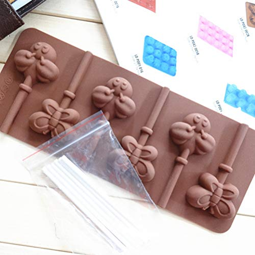 Cute 6 Even Bees and Butterflies Lollipop Funny DIY 3D Attached Silicone Mold Making Ice Blocks Candy Fondant Chocolate Soap Cakes Mousse Jelly Candle