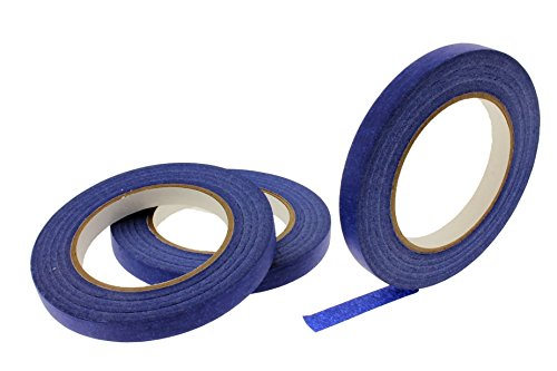 3pk 1/2 in x 60 yd Blue Painters Tape Medium High Tack Sticky Paper Masking Tape Edging Small Projects Fine Trim Detailing Multi Surface Clean Release 21 Day Easy Removal No Residue 12MM .5 inch