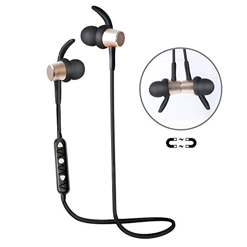 OKCSC Magnetic Bluetooth Earphones Sport Wireless Headset In-Ear Earbuds With Mic Battery Balance Reminder for iPhone Xiaomi Android IOS (Battery balance reminder, hands free) Rose Gold