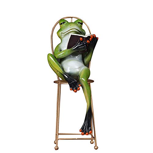 (MEMIND Home Living Room Desktop Frog Decoration Creative Study Office Soft Dress Accessories Animal Crafts Gentleman Frog Furnishings,Reading)