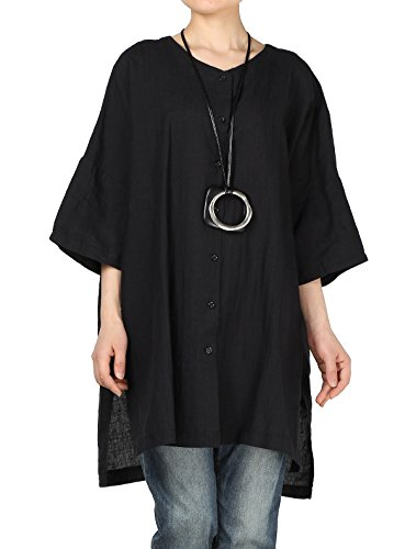 Women's Round Neck Casual Side Slits Long Tops (Black) - 1