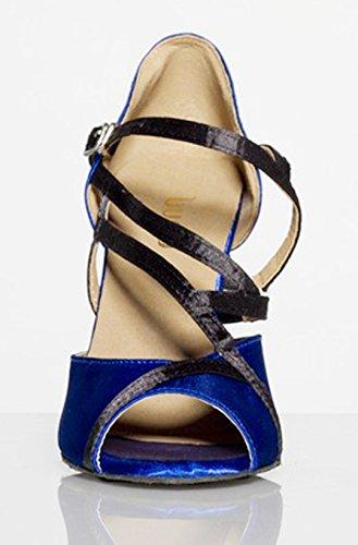 Tda Femmes Sexy Floral Boucle Mode Satin Salsa Tango Salle De Bal Danse Latine Chaussures Bleu