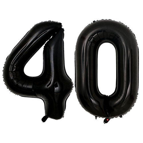 40inch jumbo Black 40 number balloons for 40th Birthday Party Decoration Men Women Party Supplies (Black -