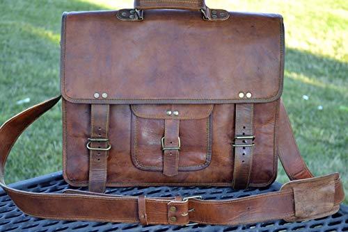 (PL 16 Inch Vintage Leather Messenger Bag Briefcase/Fits upto 15.6 Inch)