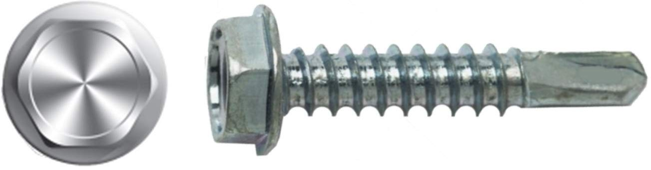 (1000) #14 X 3'' Unslotted Hex Washer Head Self-Drilling ScrewZinc plated DP3 Bulk Box by Drive Straight Screws