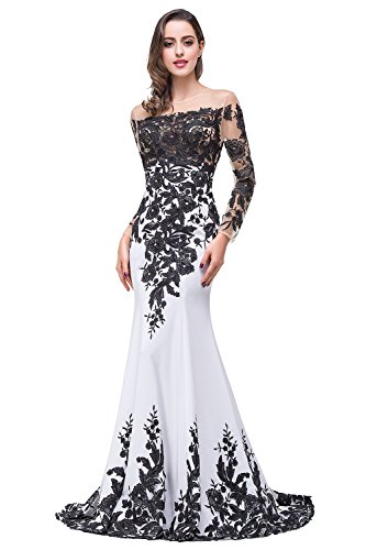 MisShow Maxi Mermaid Formal Evening Dress Long Sleeves Mother Of The Bride Dress