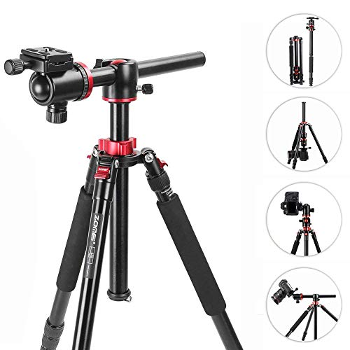 (Camera Tripod, ZOMEi M8 75-inch Professioional Aluminium Horizontal Tripods with Extension Arm Monopod, 360°Ball Head and 90°Rotatable Center Column for Canon Nikon DSLR DV Scope Camcorder Projector)