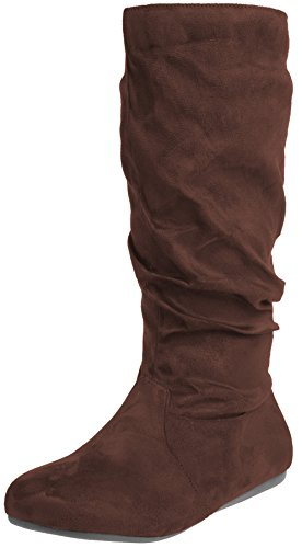 (Enimay Women's Winter Fashion High Mid Calf Slouchy Flat Casual Dress Boot Brown 6)