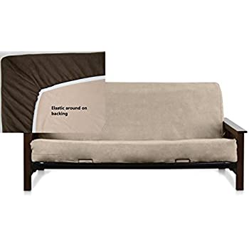 OctoRose Full Size Elastic Around on Backing Bonded Micro Suede Easy Fit Fitted Futon Cover (Khahi)