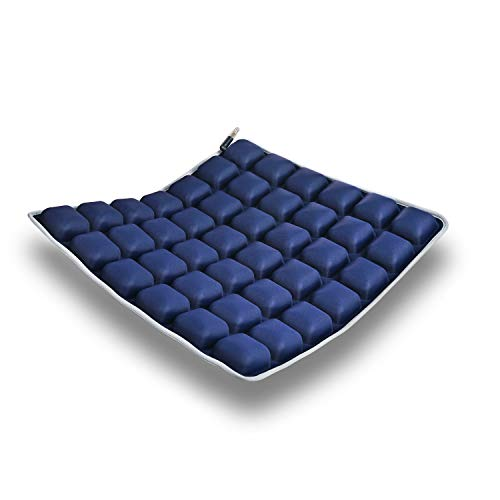 HOMMIESAFE Water Seat Cushion Air Inflatable Chair Pad for Wheelchair, Office Chair, Cars, Home Living, Pressure Relief Pillow, Adjustable Volume & Softness - Cool Non-Slip Hip Protector (Dark Blue)