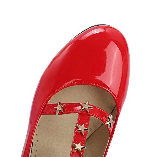 Rouge Correct VogueZone009 Femme Rond à Légeres Verni Boucle Talon Chaussures Brillant rRrIxvqw