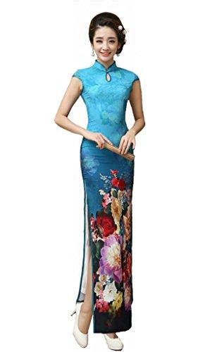 JTC Women High Slit Long Chinese Dress Cheongsam Blue (2)