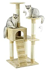 """* Color : Beige* Overall Size : 21""""W x 21""""L x 52""""H* Base Board Size : 19""""W x 19""""L* Size of Condo : 12""""W x 12""""L x 10""""H* Top of 2 Perches : 11.25"""" Dia* Number of Ladder : 1* Posts covered by natural sisal rope* Covering Material : Faux Fur* Board Mater..."""