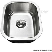 Decor Star P-001-V2 15 Inch x 18 1/2 Inch Undermount Single Bowl 18 Gauge Stainless Steel Bar or Prep Sink cUPC