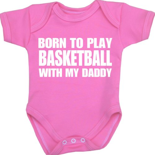 BabyPrem Baby Born to play Basketball with my Daddy Bodysuit NB-12 mth PINK 3-6 -