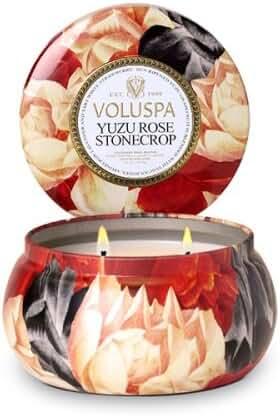 Voluspa Yuzu Rose Stonecrop 2 Wick Metallo Candle 11 oz