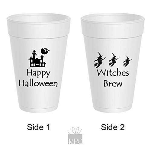 Halloween Styrofoam Cups - Witches Brew, Happy Halloween