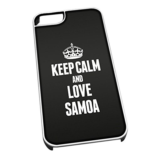 Bianco cover per iPhone 5/5S 2271 nero Keep Calm and Love Samoa