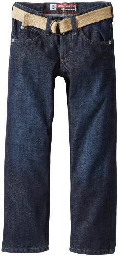 Lee Big Boys' Dungarees Belted Straight Leg Jeans, 3-D Raw, 14  Regular