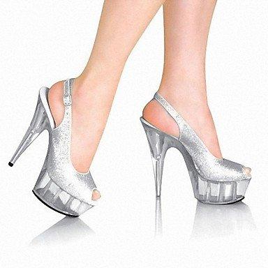 RTRY Zapatillas De Mujer &Amp; Flip-Flops Zapatillas Pvc Summer Party &Amp; Noche Crystal Stiletto Talón Ruby Negro Blanco 5En &Amp; Más US9.5-10 / EU41 / UK7.5-8 / CN42