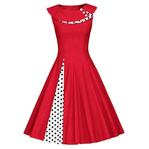 Sunhusing Womens Fashion Sleeveless Retro Polka Dot Print Dress O-Neck Patchwork Vintage Ball Gown Dress