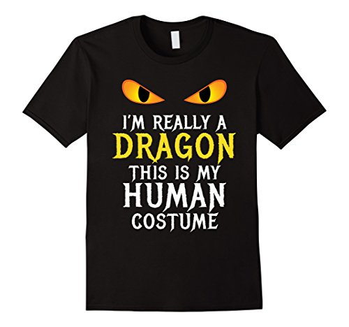 Mens I'm Really A Dragon Halloween Costume Shirt Easy Funny Medium Black