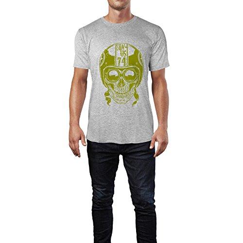 SINUS ART® Totenkopf mit Retrobrille und Helm Herren T-Shirts in hellgrau Fun Shirt mit tollen Aufdruck