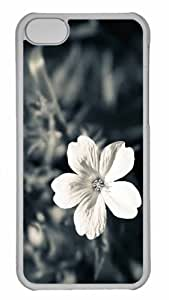 Customized iphone 5C PC Transparent Case - White Flower Personalized Cover