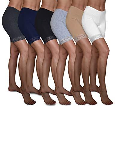 Sexy Basics Slip Shorts | 6 Pack Active Dance Running Yoga Bike Shorts | Cotton Spandex Lace Trim Boxer Brief/Bike Shorts (6 Pack- Black/Khaki/Navy/Grey/White/Charcoal, X-Large) (Womens Lace Boxer Shorts)