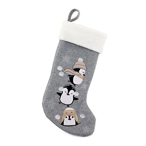 """BambooMN 1 Pc Set 18"""" Classic Hand Embroidered Sequined Cute Animal Chirstmas Stocking, 02 Penguin"""