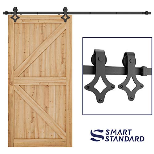 """SMARTSTANDARD 8FT Heavy Duty Sliding Barn Door Hardware Kit, Single Rail, Black, Smoothly and Quietly, Simple and Easy to Install, Fit 48"""" Wide DoorPanel (Rhombic Shape Hanger)"""
