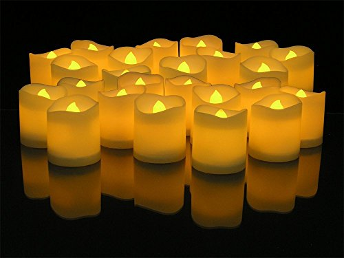 WoneNice Yellow Flickering Flameless Votive Battery Operated Candles - Pack of 24