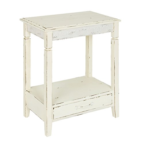 (Kate and Laurel Idabelle Wood Side Table with Drawer, Farmhouse White)