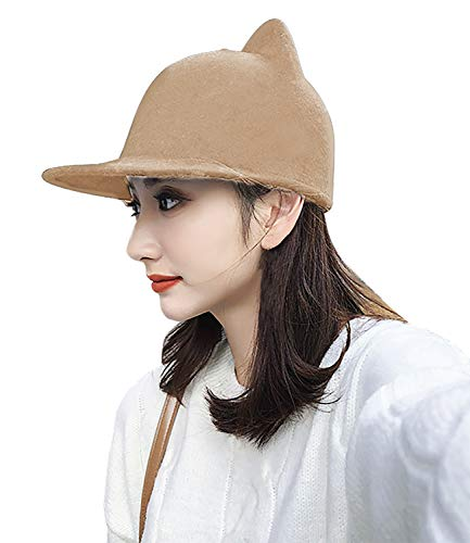 Bellady Women Cat Ear Woll Hat Baseball Hat Wide Brim Bowler Cap,Cat Ear Style_Camel]()