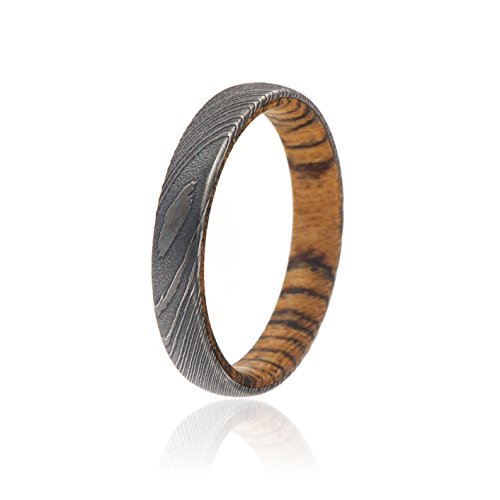 4 Mm Wide Ring - Damascus Steel Ring Acid Etched Bands With Bocote Wood Sleeve Comfort Fit 4mm Wide Ring - USA Made Custom Jewelry And Bands
