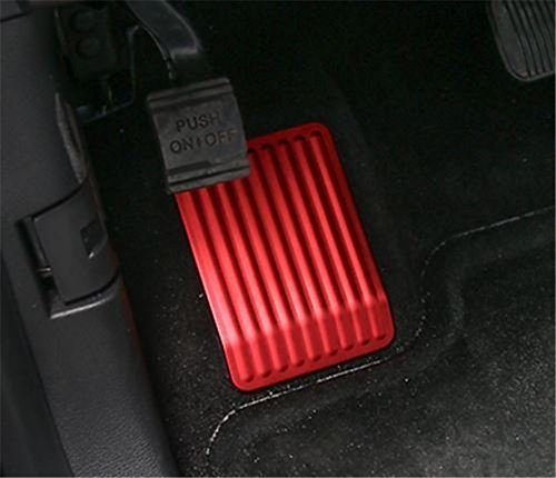 Bestmotoring Aluminum Dead Pedal Anti Slip Covers Left Rest Foot Pedal Pad for Ford F150 2015 2016 1pcs Red