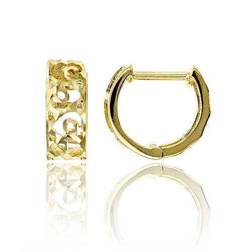 14K Yellow Gold Diamond Cut 3.60x11.10mm Lattice Huggie Earring