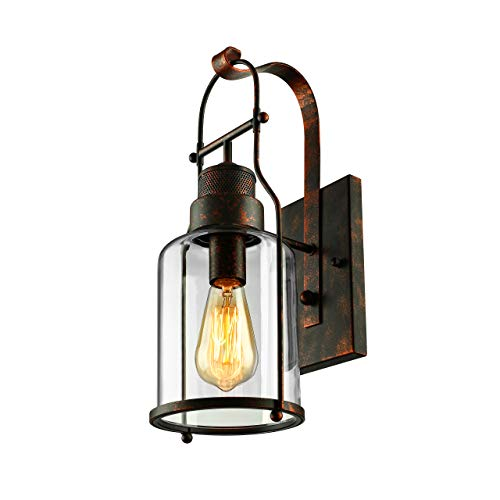 BAYCHEER Industrial Country Style 18'' H Single Light Wall Sconces Wall Lighting Wall Lamp Wall Fixture Loft Light with Cylinder Glass Shade use 1 E26 Light Bulb in Rust from BAYCHEER