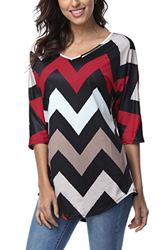 DREAGAL Womens Wave Striped Zig Zag V Neck Chevron Print Tunic Shirt (Print Tunic Blouse)