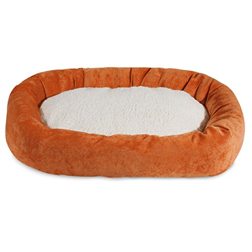 (24 inch Orange Villa Collection Sherpa Bagel Dog Bed)