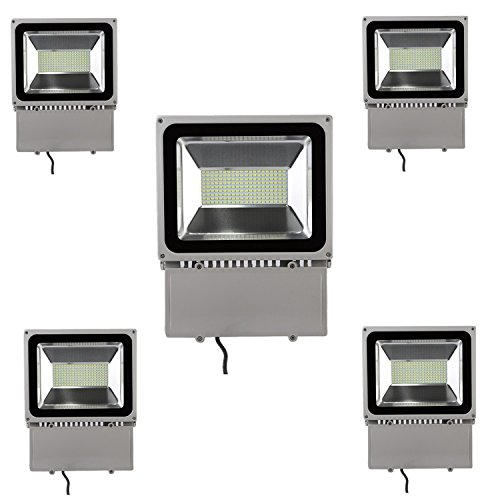 Beisaqi 150W SMD 5730 LED Floodlight Cool White, IP65 Waterproof Security Lights for Home,Garden,Garage (5 pcs) by Beisaqi