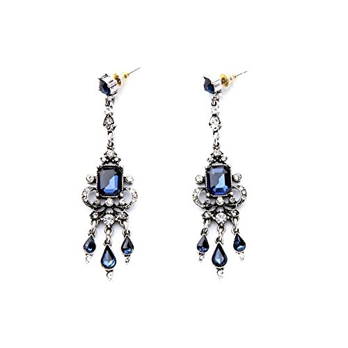 Art Deco Victorian Edwardian Antique Vintage Style Blue Sapphire Rhinestone Long Dangle Wedding Bridal Prom Earrings (Antique Style Dangle Earrings)