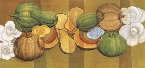 Oil Painting 'Pumpkins And Flowers' Printing On Perfect Effect Canvas , 10x21 Inch / 25x54 Cm ,the Best Wall Art Artwork And Home Decoration And Gifts Is This Best Price Art Decorative Prints On Canvas ()