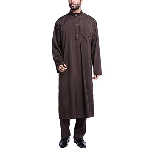 Musulmán Casual Islámico Zhhlaixing Árabe Longitud Coffee Sets Completa Ropa Hombres 2 Style Party Este Saudi Medio Piece Robes Para qPda4Hxd