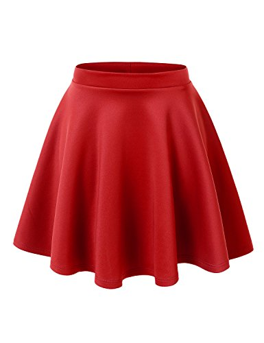 MBJ WB211 Womens Basic Versatile Stretchy Flared Skater Skirt S RED