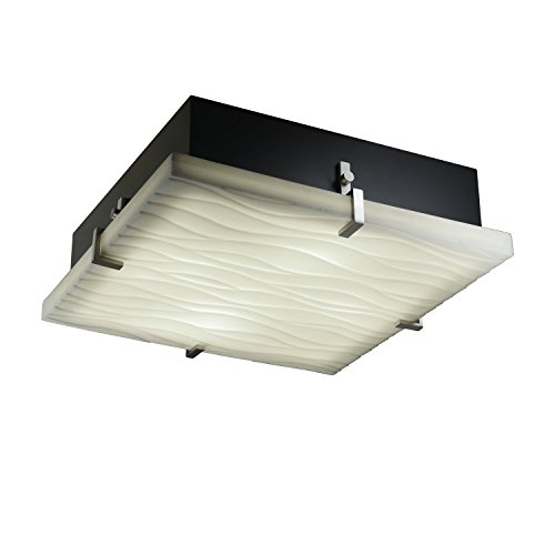 Design Justice Group Clips (Justice Design Group Porcelina Collection 4-Light Clips Square Flush-Mount - Brushed Nickel Finish with Waves Faux Porcelain Resin Shade)